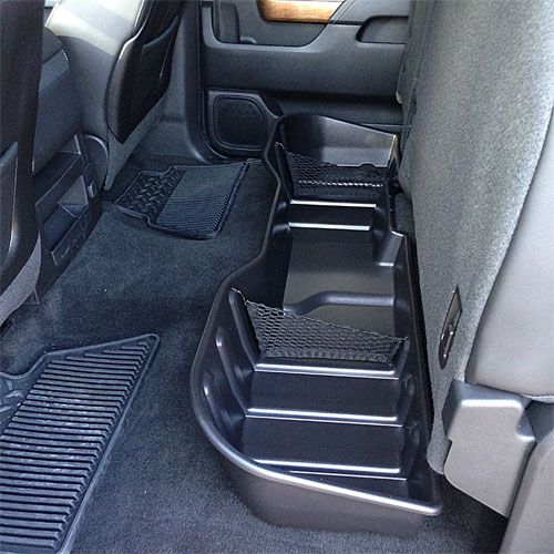 Contain, organize and conceal items under the rear seat of your vehicle with this durable molded plastic Underseat Storage Box.
