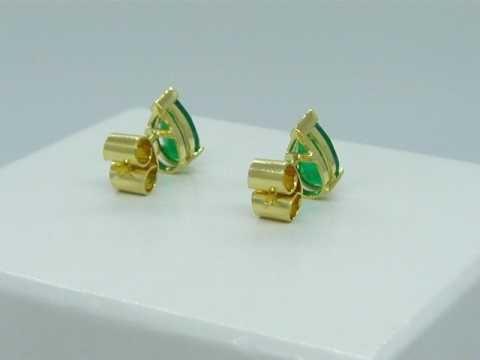 Pear Shape Colombian Emerald Stud Earrings E-DNCI-240 by www.GreenInGold.com #earrings #emeralds #jewelry #fashion #style #customjewelry #gemstones