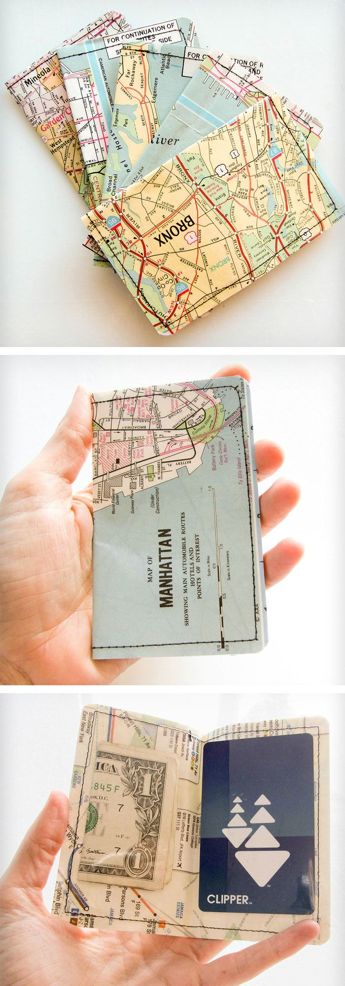 Wallets made from a vintage New York map! #product_design
