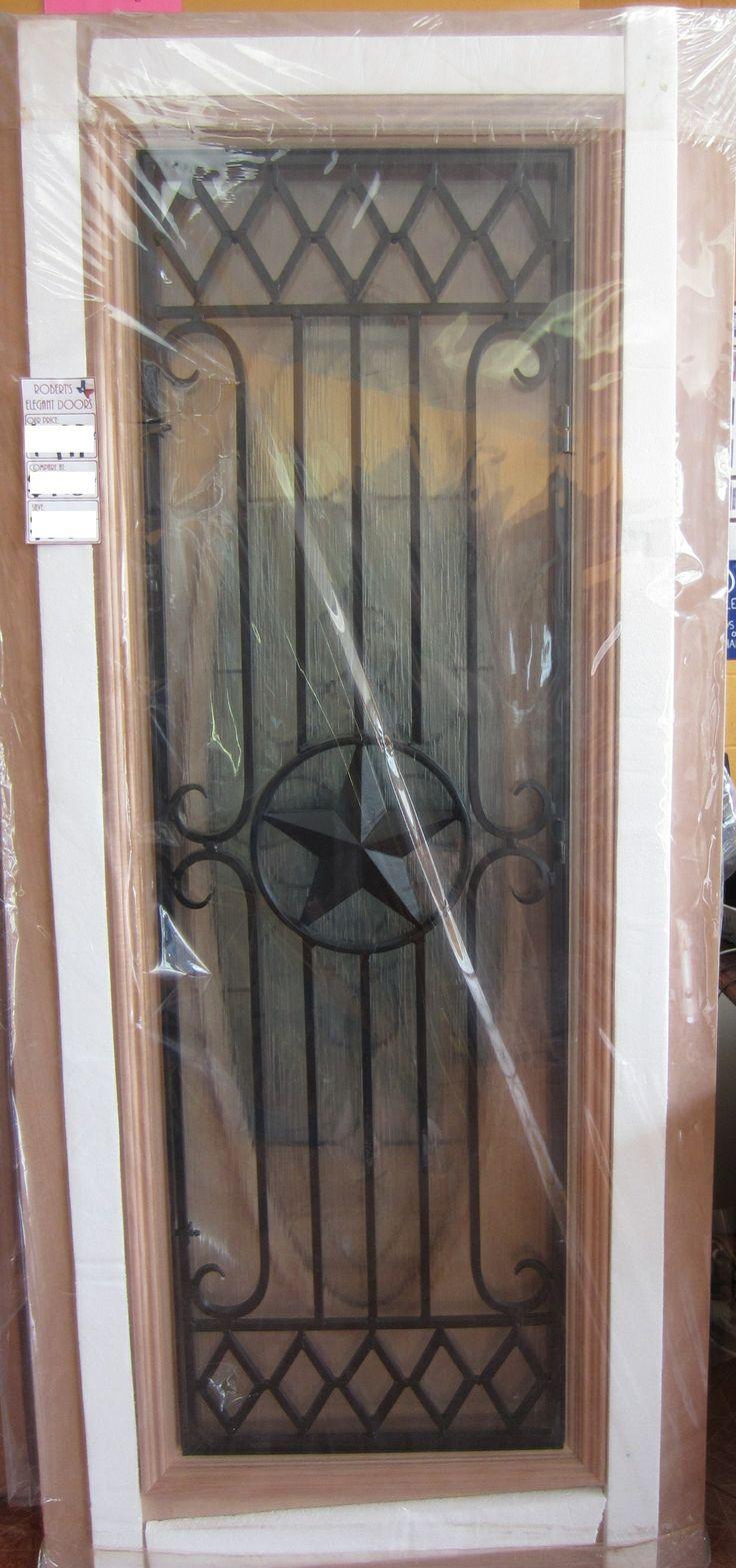 #10 FULL LITE IRON GRILL TEXAS STAR MAHOGANY WOOD DOOR