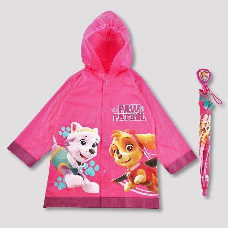 Toddler Girls' Paw Patrol Rain Jacket and Umbrella - Pink