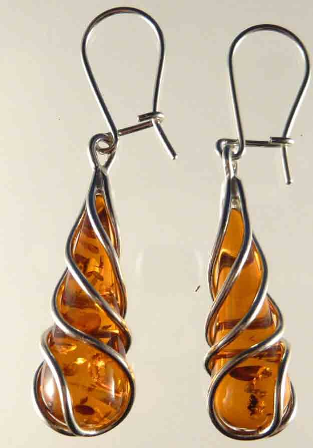Amber by Monica | Shop | Baltic Amber Earrings | Tear-Drop Dangle Earring (EW-525) - Baltic Amber Handcrafted Amber Jewelry