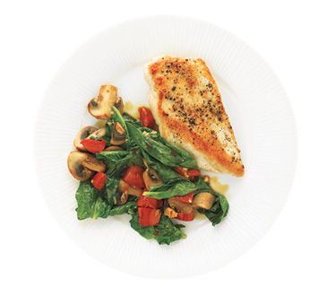 a month of 400 calorie dinners: Chicken Dinner, Recipe, Food, White Wine, Spinach, Chicken Breast, Mushrooms, Real Simple