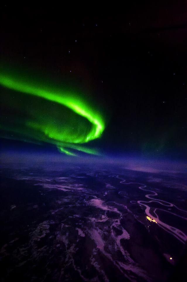 Aurora Borealis viewed from an airplane