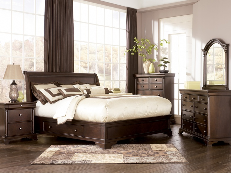 'Leighton' bedroom collection. Storage Bed available in queen or king. Dresser, mirror, nightstand, chest, & media chest available.