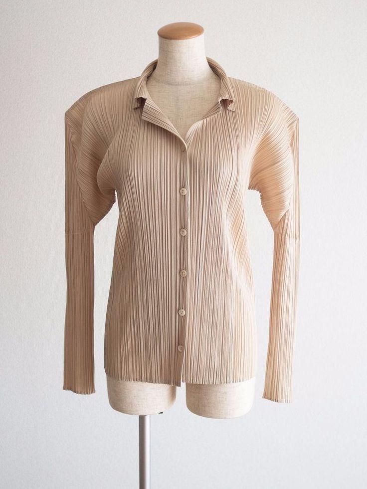 PLEATS PLEASE ISSEY MIYAKE Women's PP Standard Beige Gold Shirt Tops Size 4 #ISSEYMIYAKE #ButtonDownShirt