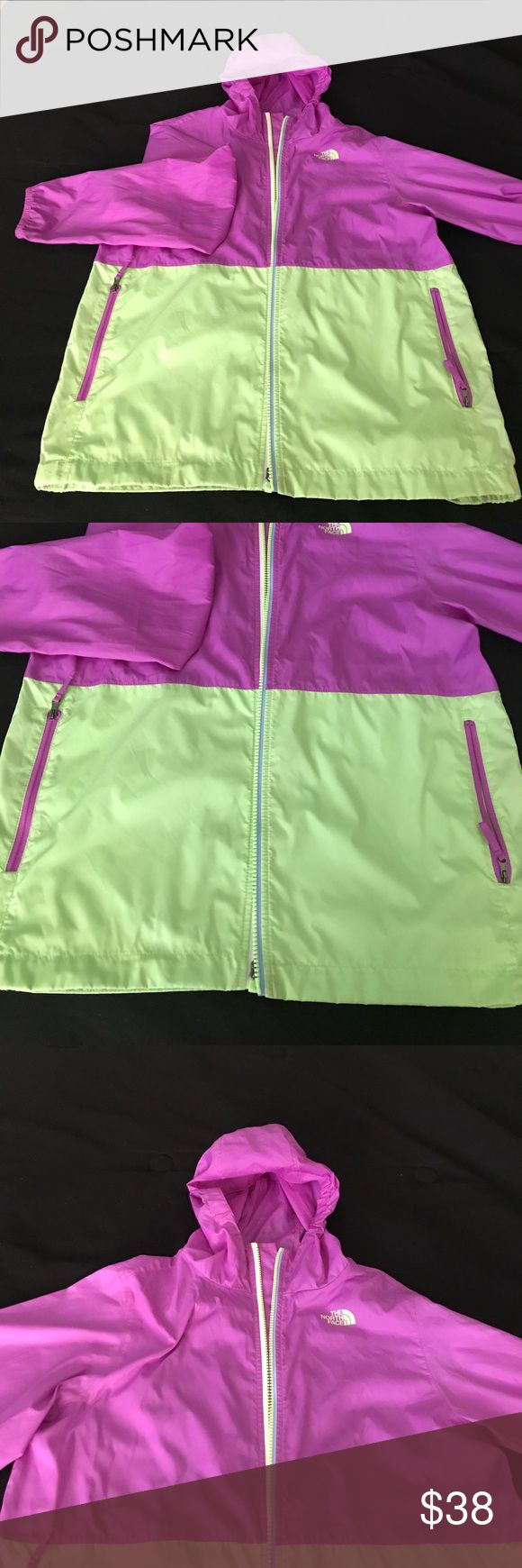 North Face Windbreaker Big Girls North Face Windbreaker with hood. Size XL, 16. Ombre style jacket. Purple & Lime Green. Excellent Condition North Face Jackets & Coats