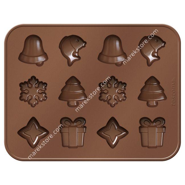 Silikonowa foremka do czekoladek motywy Bożonarodzeniowe - 12 szt | TESCOMA DELICIA CHOCO
