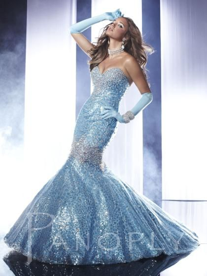 Panoply Gown--Full Mermaid with Full Flared Skirt and Fitted Bodice featuring Hand Sewn Iridescent Stones for that Hour Glass Look