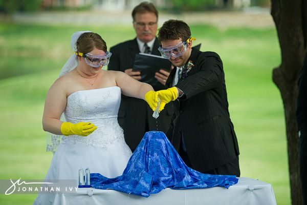 Chemistry – you put a little yellow something in, then he puts a blue something in and POW – green stuff is flowing everywhere. This is such an exciting ceremony for those dare devils
