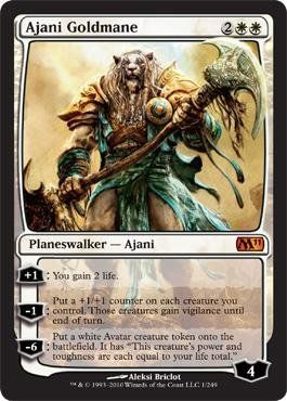 Magic: the Gathering - Ajani Goldmane - Magic 2011 by Wizards of the Coast. $11.71. A single individual card from the Magic: the Gathering (MTG) trading and collectible card game (TCG/CCG).. This is of Mythic Rare rarity.. From the Magic 2011 (M11) set.. Magic: the Gathering is a collectible card game created by Richard Garfield. In Magic, you play the role of a planeswalker who fights other planeswalkers for glory, knowledge, and conquest. Your deck of cards represents a...