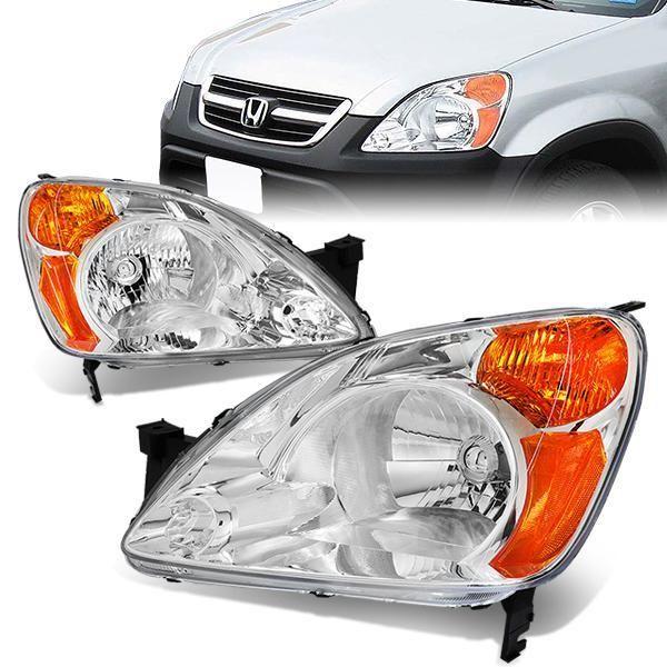 D Motoring 02 04 Honda Cr V Headlights Chrome Housing Amber Corner Plug N Play Pair Honda Cr Cr V Honda