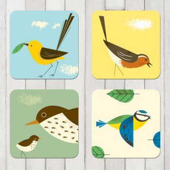 Magpie Set of Four Birdy Coasters
