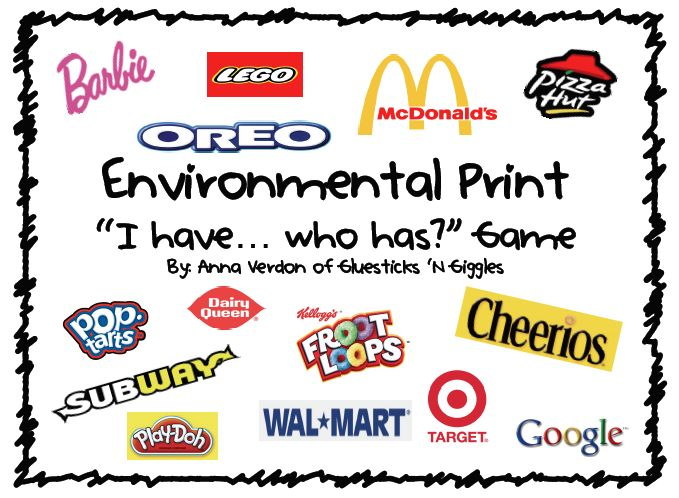 "Environmental Print ""I have... Who has?"" Game FREEBIE!"