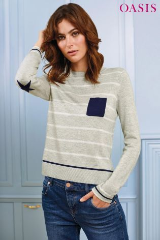 Buy Oasis Pale Grey Cosy Stripe Pocket Knit Jumper from the Next UK online shop