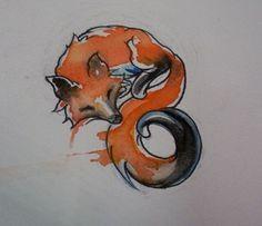watercolor fox - cute-tattoo