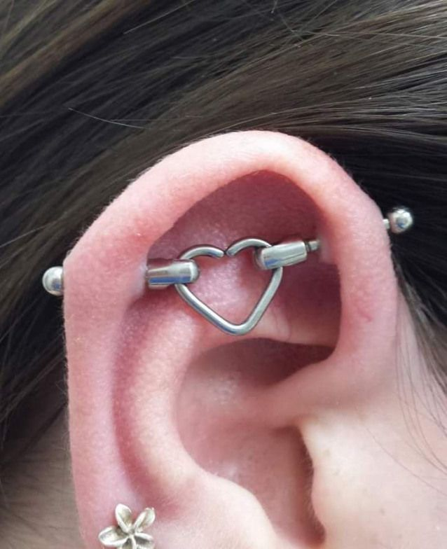 Loving Long Titanium Industrial Heart Shaped Barbell
