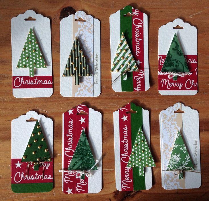 """Weihnachtsanhänger, Stanze """"Gewellter Anhänger"""" und """"Tannenbaum"""" von Stampin´up"""