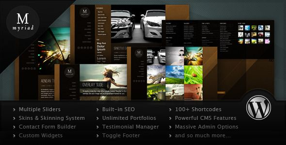 Myriad - Powerful Professional WordPress Theme   http://themeforest.net/item/myriad-powerful-professional-wordpress-theme/1251784?ref=damiamio                  A New Breed of Wordpress Themes Has Arrived!  With Mysitemyway you're getting more than just a theme, you're getting a new way of approaching them.  With our innovative separation of design from content, we've put everything you could every wish to customize into one easy to navigate option panel.  Take a closer look at the admin…