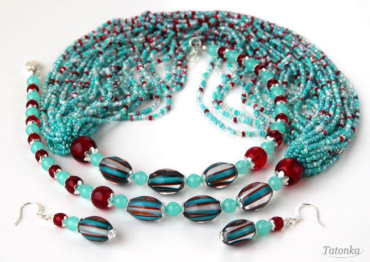 """Купить Гарнитур """"Голубые Гавайи"""" - бирюзовый, голубой, зеленый, зеленый, красный, вишневый, вишневый, вишня"""