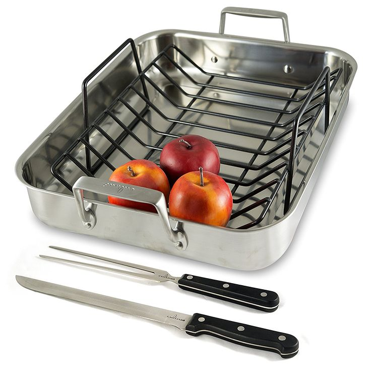 Culina Oven to Stove 16 Roaster Pan Tri-ply Stainless Steel with Non-stick Roasting Rack and Bonus Carving Set. *** Details can be found by clicking on the image.