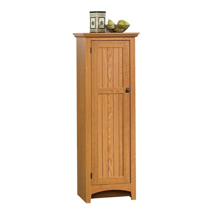 Kitchen Pantry Cabinet Tall Food Storage Bathroom Laundry Organizer Oak Finish #KitchenPantryCabinet #Office