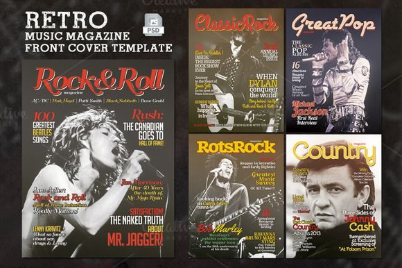Retro Music Magazine Front Cover by Rooms Design Shop on Creative Market
