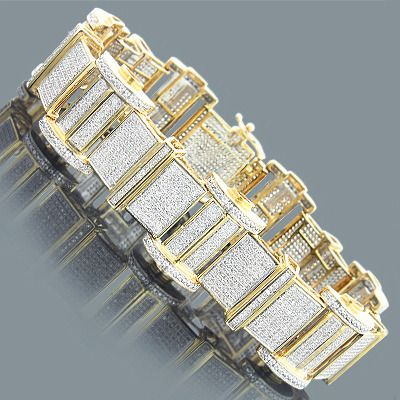 Fantastic Mens Bracelets! This 10K or 14K Gold Mens Diamond Bracelet showcases 8.15 carats of diamonds, each masterfully set in a lustrous gold frame. Featuring a fully encrusted design and a highly polished gold finish, this mens diamond bracelet is available in 14K or 10K white, yellow and rose gold.