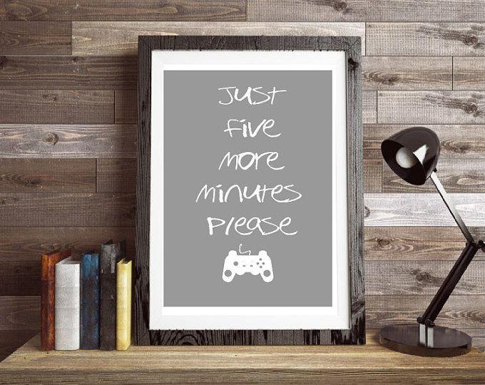 Cinq plus Minutes impression, art mural, affiche de citation, jeu vidéo, typographie jeux, poster de jeu, estampes affiches, contrôleur de jeu, l'art