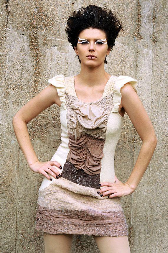 "made of neutral nylon tights and handmade merino wool-felt using the ""nuno"" technique by Texturable (Claudia Rosillo) on Etsy"