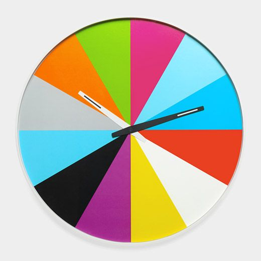Ultra-Flat Multicolor Wall Clock  Thomas Buchheim, 2010 $45  want to reproduce, way too expensive for a clock