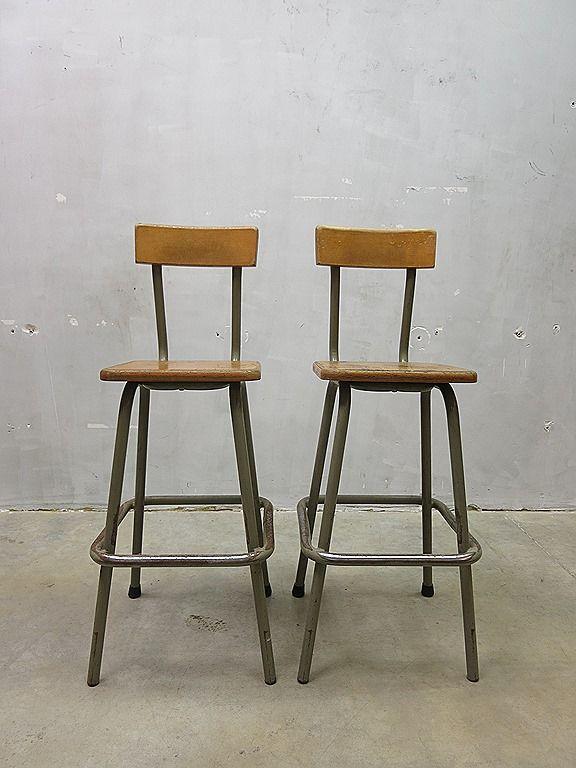 Vintage kruk stoel loft industrieel, French Industrial stools bar stool