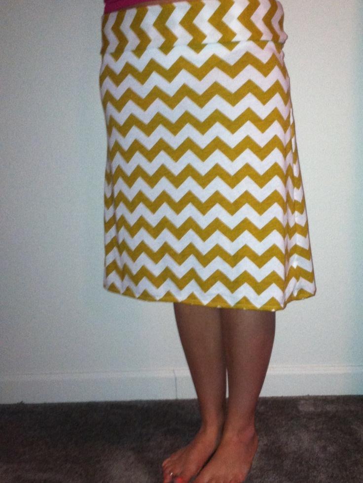 Mustard yellow and white chevron knee length maxi skirt | Clothing ...