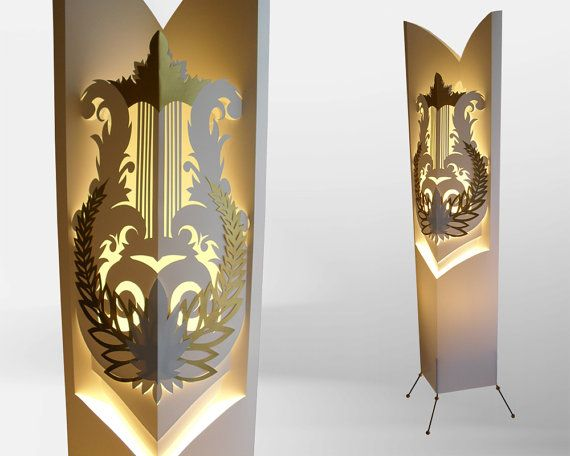 Lyre Harp Floor Lamp, Night Lamp, Lampshade, Handmade Lamp  With Golden  Wreath