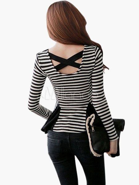 Black & branco listrado frente camiseta Slim Fit Split