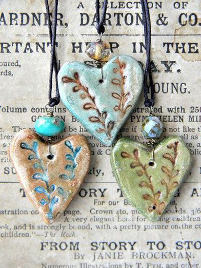 forest heart necklaces.  Make with salt dough?