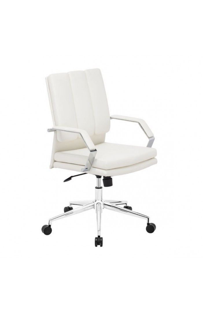 modern white leather u0026 chrome office chair sofa chairdesk