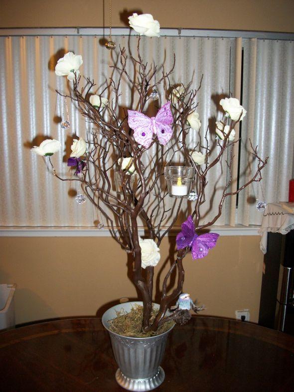 Diy Manzanita Tree Centerpiece Wedding Erfly Hanging Votives Ivory Orchid Purple Silver 101 0428 Devinestyle Quinceañera In 2018