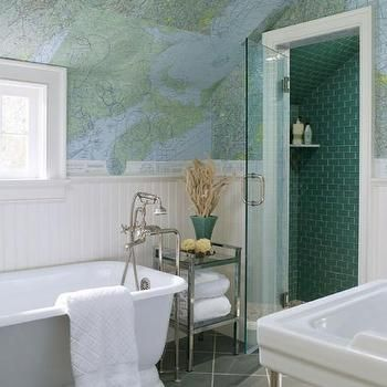 ... Map Wallpaper, Contemporary, bathroom, At Home in Fairfield County