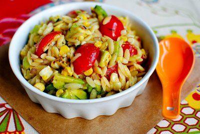 Grilled Corn Orzo Salad with Chili Lime Vinaigrette