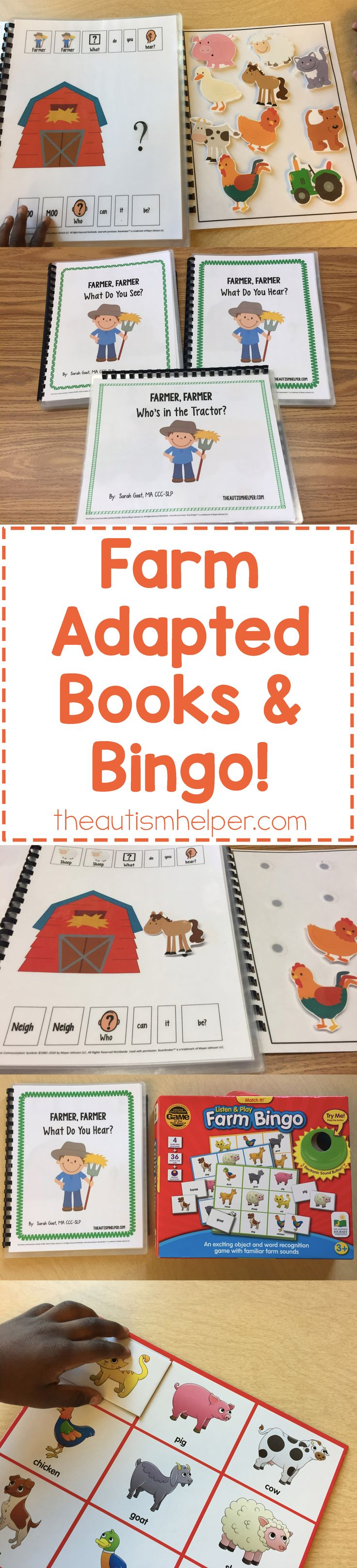 Sarah the Speech Helper shares her farm adapted books & activities plus tips for using in speech therapy on the blog! From theautismhelper.com #theautismhelper