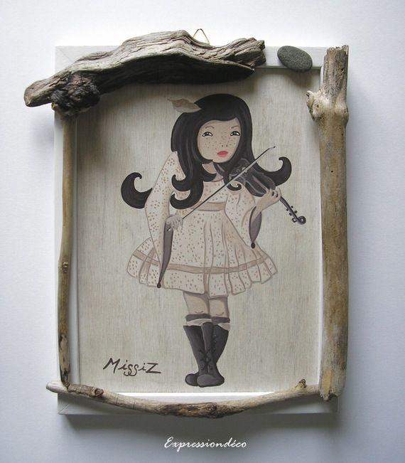 Petit tableau cadre bois flotté MissiZ Zen