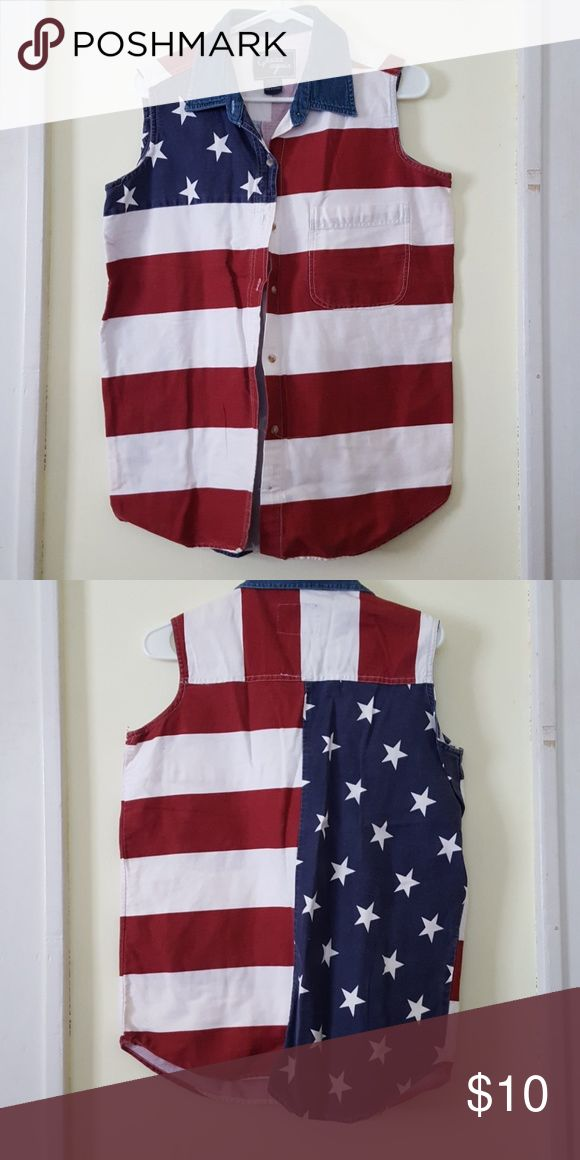 American Flag Button Down Top Jean material with American Flag. 100% cotton Quizz Again New York Tops Tank Tops