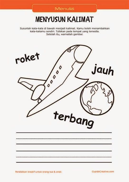 belajar membaca & menulis anak TK/SD, menyusun kata menjadi kalimat & mewarnai gambar pesawat ruang angkasa