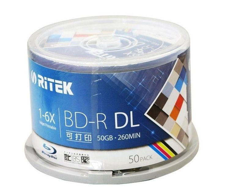 Ritek 50 pack/one box A+ quality Blank Printable Blu Ray DL 1-6x Dual Layer 50GB BD DL //Price: $126.40 & FREE Shipping //     #hashtag1