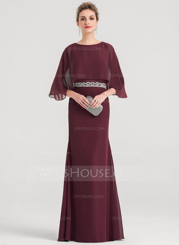 8285c2fef25 Etui-Linie U-Ausschnitt Bodenlang Chiffon Abendkleid mit Perlstickerei  Pailletten