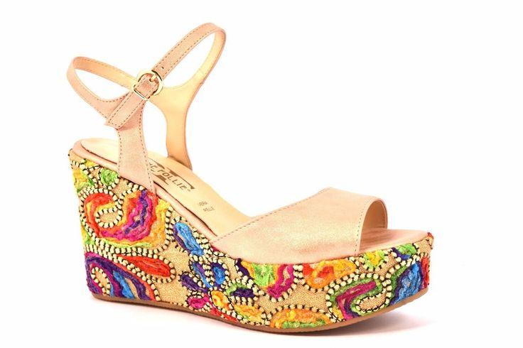 DIVINE FOLLIE 2728 ROSA CIPRIA Sandalo Donna Zeppa Colorata 9,5 cm Cinturino