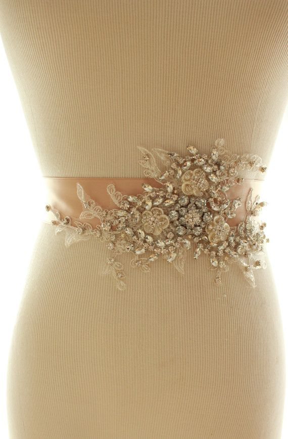 Bridal Crystal Pearl Sash Wedding Rhinestone by abigailgracebridal, $195.00