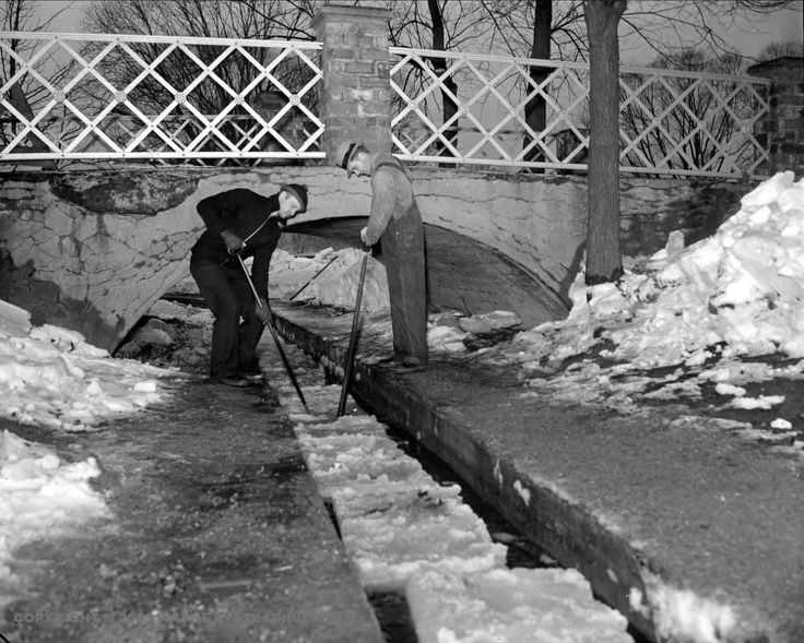 Ice Cutting on Belle Isle (Detroit ) for the ice industry  c. 1939