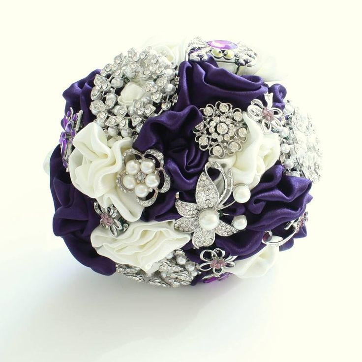 Purple Fabric and Brooch Bouquet by Florio Designs